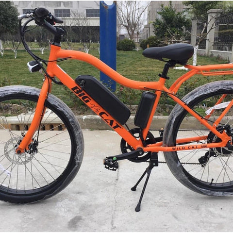 Orange Big Cat Wildcat 500 - Electric Mountain Bike - On the sidewalk