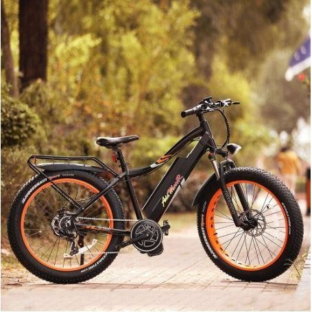 Orange AddMotor Motan M5800 - Fat Tire Electric Bike - Side View Outside