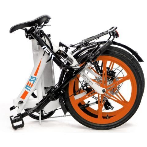 Orange Ness Icon Folding Electric Bike - Folded