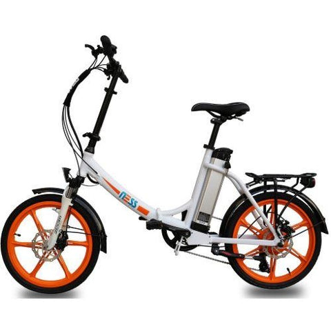 Orange Ness Icon Folding Electric Bike - Side View
