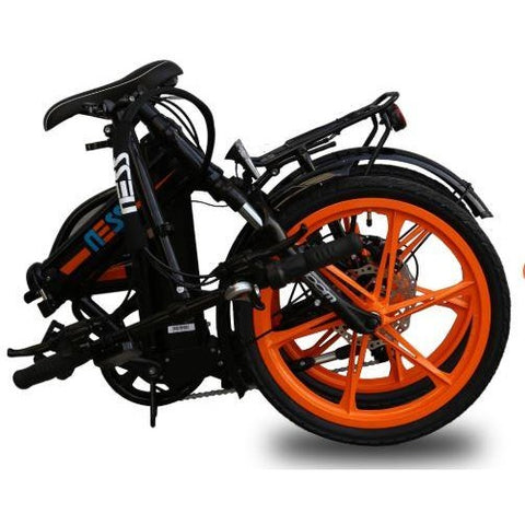 Orange Ness Rua Folding Electric Bike - Folded