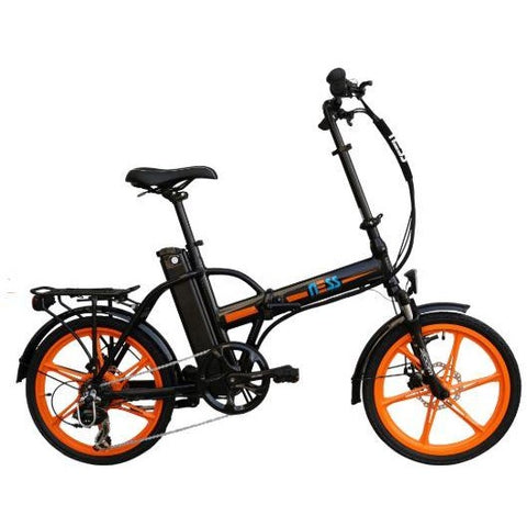 Orange Ness Rua Folding Electric Bike - Side View