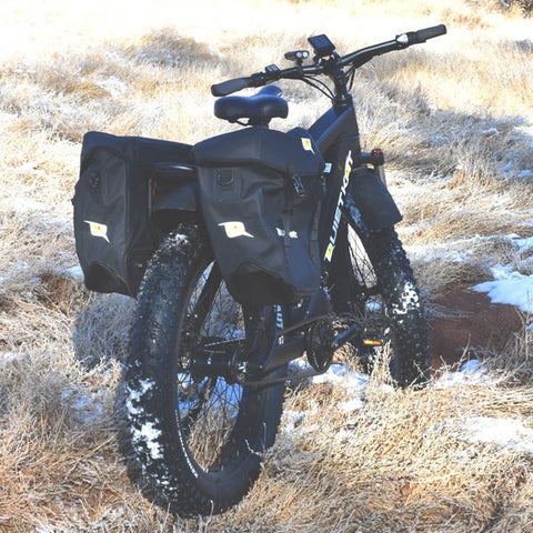 QuietKat - Pannier Bag Set - On E-Bike in a field