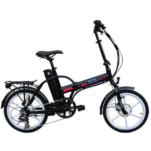 Black w/ Pink Highlight Ness Rua Folding Electric Bike - Side View