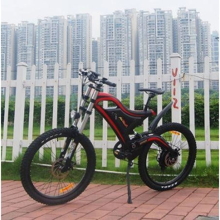 Red AddMotor HitHot H5 - Electric Mountain Bike - In Front of Fence