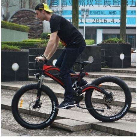 Red AddMotor Motan M850 - Electric Mountain Bike - Riding Outside