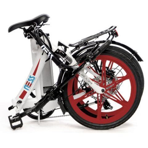 Red Ness Icon Folding Electric Bike - Folded