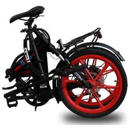 Red Ness Rua Folding Electric Bike - Folded