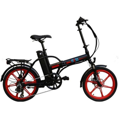 Red Ness Rua Folding Electric Bike - Side View