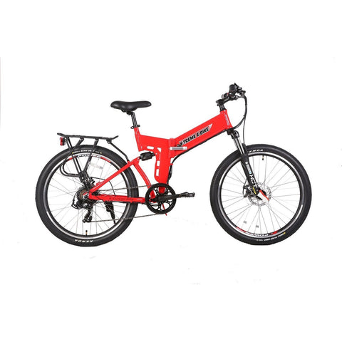 Red X-Treme X Cursion Elite Folding Electric Mountain Bike - Side View