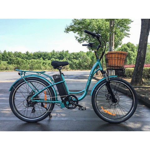 Teal Big Cat Long Beach Cruiser 500 - Electric Cruiser Bike - Side View