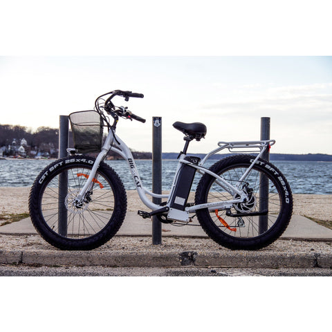 White Big Cat Long Beach Cruiser XL500 - Electric Cruiser Bike - Side View
