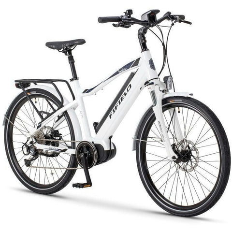 White Fifield Bonfire 350 - Electric Commuter Bike - Front View