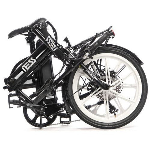 White Ness Rua Folding Electric Bike - Folded