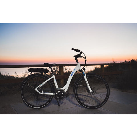 Populo Lift V2 Electric Cruiser Bike - On the trail at sunset