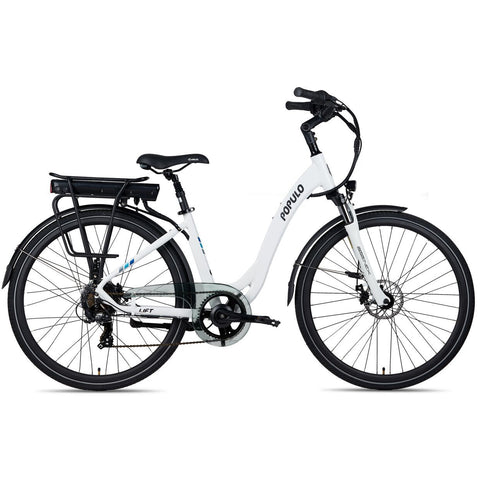 White Populo Lift V2 Electric Cruiser Bike - Side View