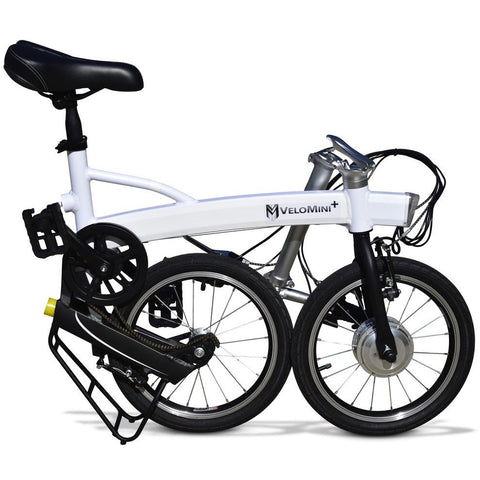 White Velo Mini Plus - Folding Electric Bike - Folded