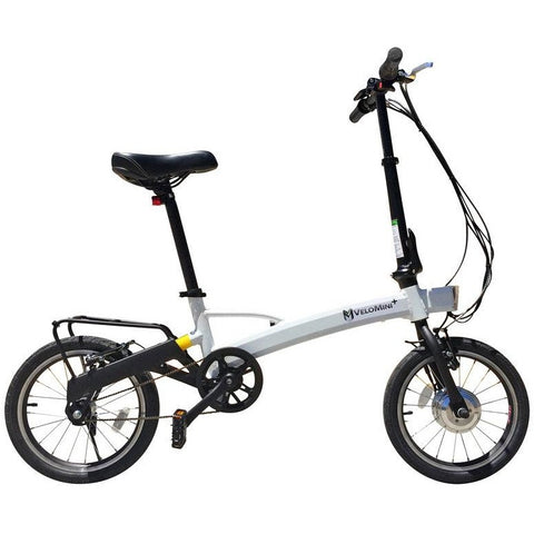 White Velo Mini Plus - Folding Electric Bike - Side View