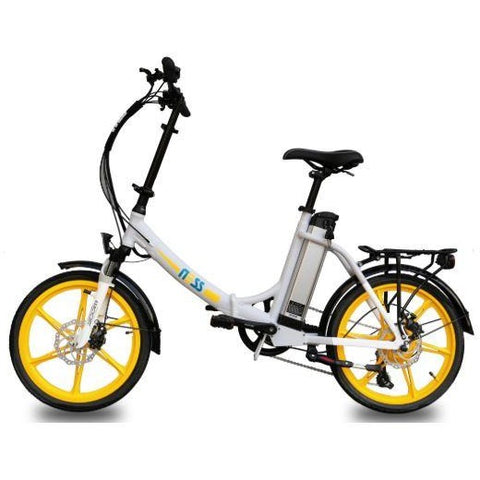 Yellow Ness Icon Folding Electric Bike - Side View