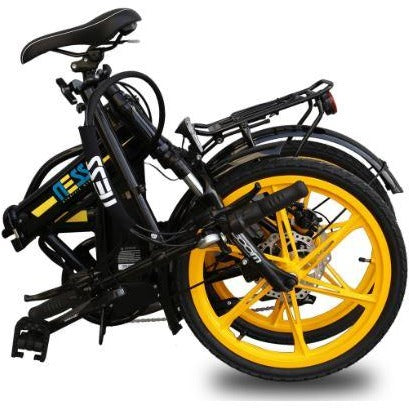 Yellow Ness Rua Folding Electric Bike - Folded