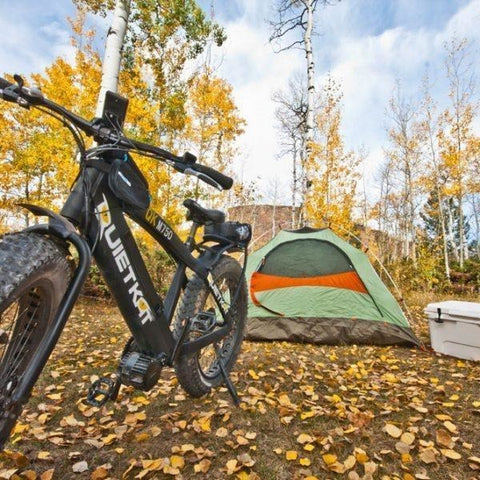 QuietKat - FatKat Pannier Rack - On E-Bike in a campsite