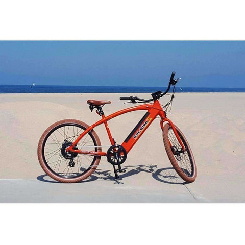Red Bat-Bike Bat Cruiser Electric Bike on Beach
