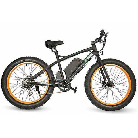 Orange E-GO Fat Tire Beach And Snow Electric Bike 500w / 36v - side view