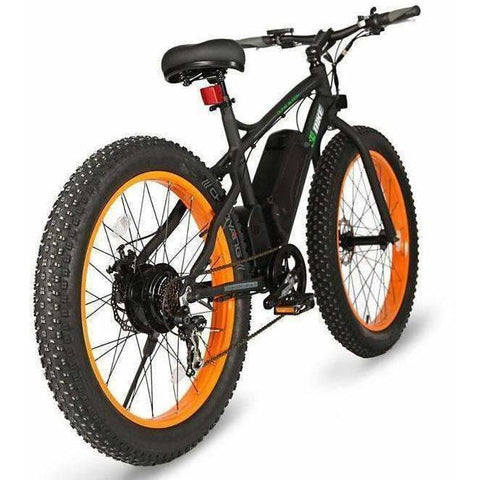 Orange E-GO Fat Tire Beach And Snow Electric Bike 500w / 36v - rear view