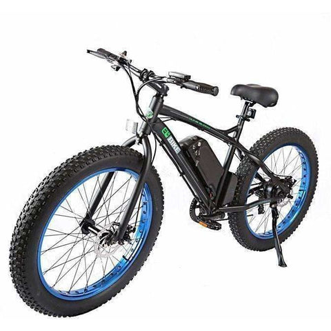 Blue E-GO Fat Tire Beach And Snow Electric Bike 500w / 36v - front view