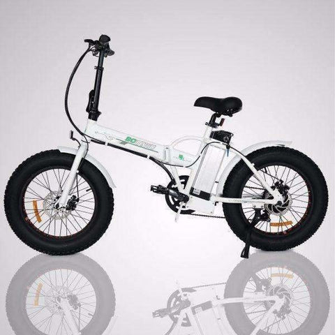 Black E-GO Fat Tire Folding Electric Mountain Bike 350w / 36v - Side View