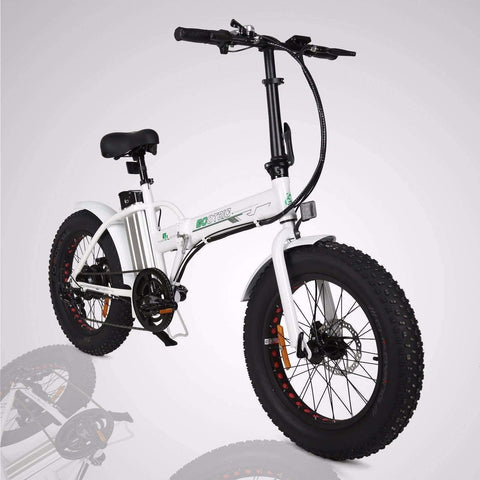 Black E-GO Fat Tire Folding Electric Mountain Bike 350w / 36v - Front View