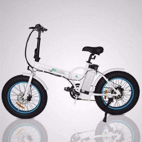 Blue E-GO Fat Tire Folding Electric Mountain Bike 350w / 36v - Side View