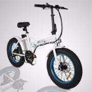 Blue E-GO Fat Tire Folding Electric Mountain Bike 350w / 36v - Front View