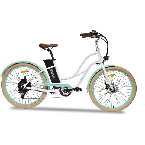 White EMOJO Breeze - Cruiser Electric Bike - Side View