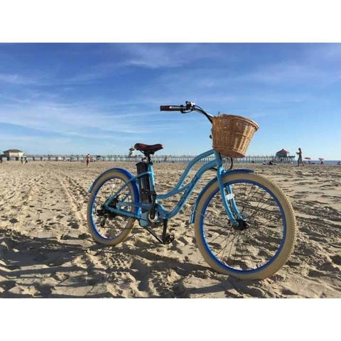 Blue  EMOJO Breeze - Cruiser Electric Bike - On Beach