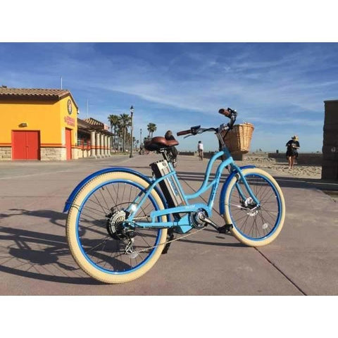 Blue EMOJO Breeze - Cruiser Electric Bike - On Pavement