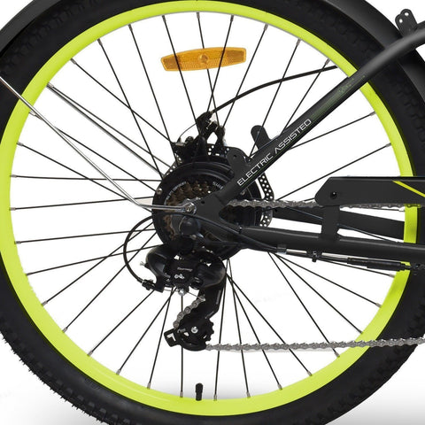 Black EMOJO Hurricane - Cruiser Electric Bike - Wheel