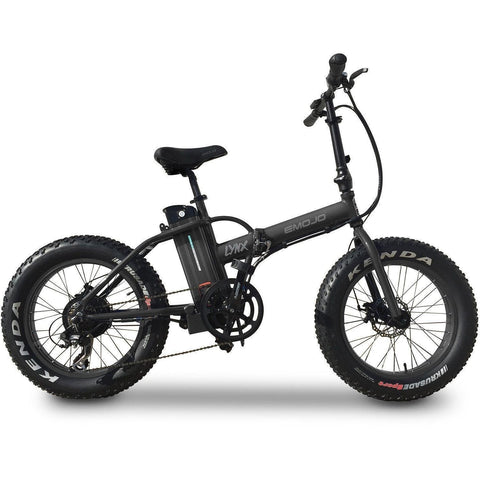 Black EMOJO Lynx - Fat Tire Folding Electric Bike - Side View