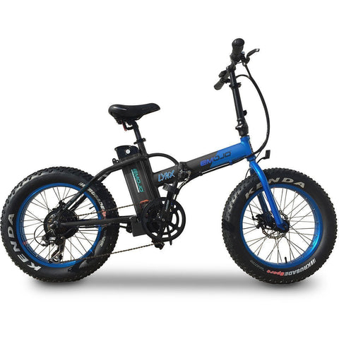 Blue EMOJO Lynx - Fat Tire Folding Electric Bike - Side View