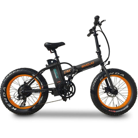 Black on Orange EMOJO Lynx - Fat Tire Folding Electric Bike - Side View