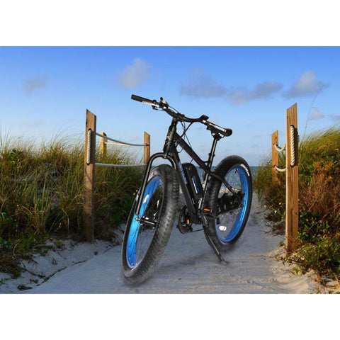 Blue EMOJO Wildcat - Fat Tire Electric Bike - On Beach