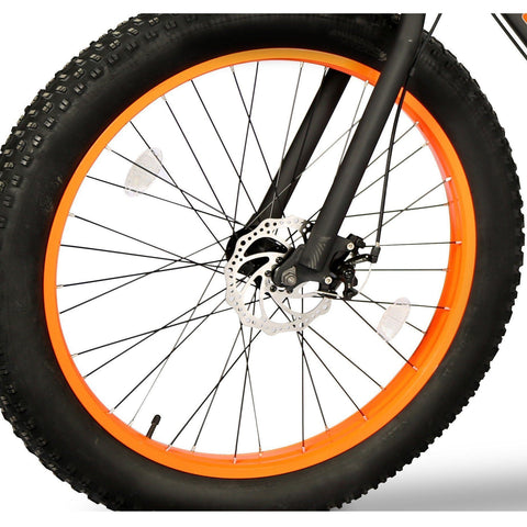 Orange EMOJO Wildcat - Fat Tire Electric Bike - Wheel