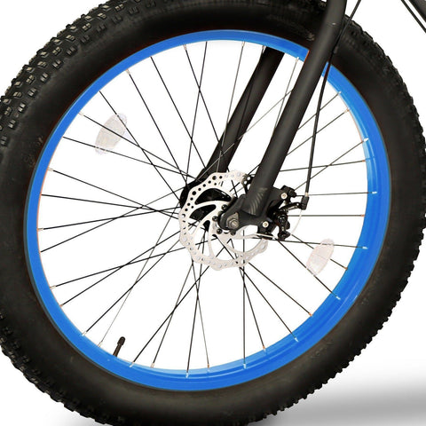 Blue EMOJO Wildcat - Fat Tire Electric Bike - Wheel