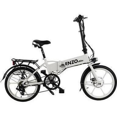 White Enzo eBikes - Folding Electric Bike - Side View
