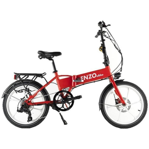 Red Enzo eBikes - Folding Electric Bike - Side View