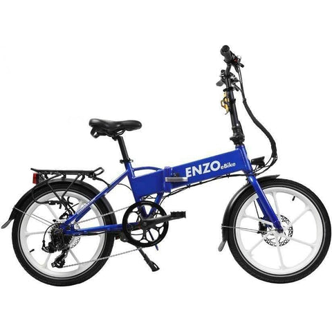 Blue Enzo eBikes - Folding Electric Bike - Side View
