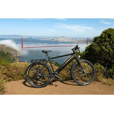 Black Espin Sport - Electric Commuter Bike - In front of the Golden Gate Bridge