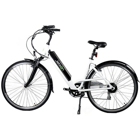 White Jetson Cruiser Electric Bike - Side View