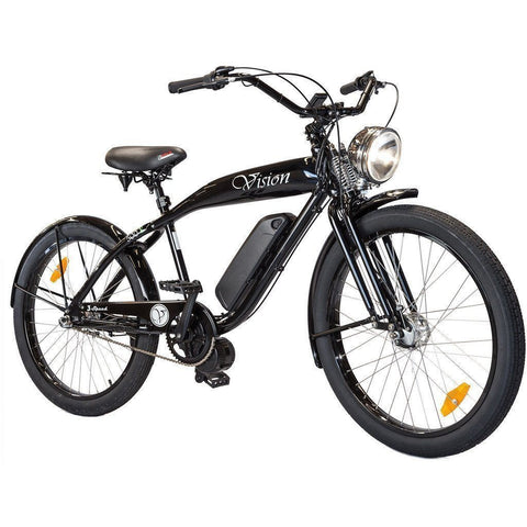 Black Phantom Bikes Vision - Old School Electric Cruiser Bike - Front View