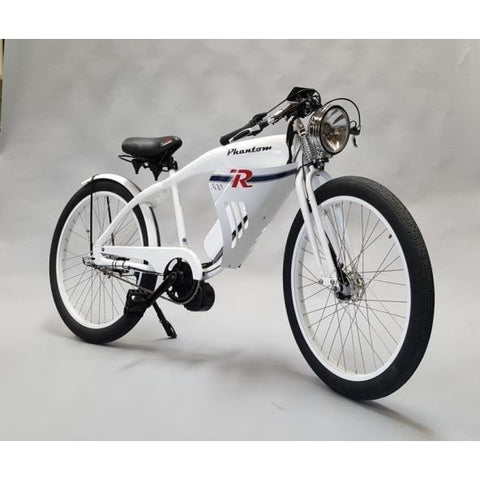 White Phantom Bikes Phantom R - Old School Electric Cruiser Bike - Front View